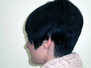 short, layered, bangs, hair cuts with finished style by Maureen Martinez, salon professional hairstylist in Ventura County